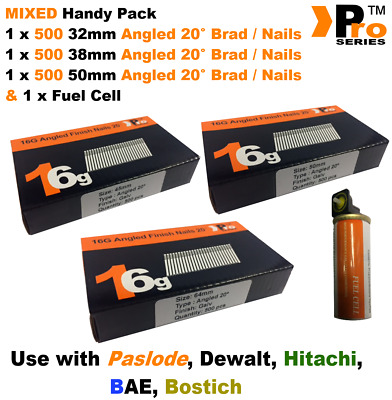 32mm + 38mm + 50mm  16g ANGLED Nails, 3 x 500 pack + 1 x Fuel Cell for Paslode
