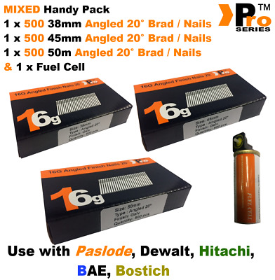 38mm + 45mm + 50mm  16g ANGLED Nails, 3 x 500 pack + 1 x Fuel Cell for Paslode