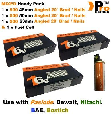 45mm + 50mm + 63mm  16g ANGLED Nails, 3 x 500 pack + 1 x Fuel Cell for Paslode