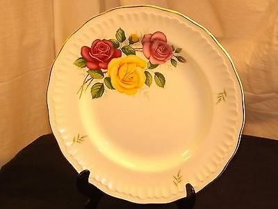 Swinnertons Nestor Vellum Plate Pink Yellow & Red Rose Staffordshire England