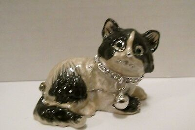 "Collectible Enamel Cat with Crystals Trinket Box 1 1/2"" Tall"