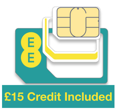 EE Pay as you go Trio Roaming Sim card, Preloaded with £15 Credit, Fast&Free