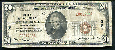 1929 $20 The 3Rd National Bank Of Pittsburgh, Pa National Currency Ch. #291