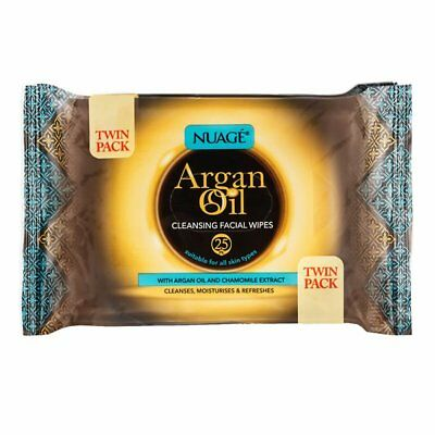 Twin Pack  Nuage Argan Oil With Chamomile Facial Cleansing Wipes Makeup Removal