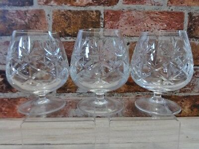 3 Vintage Lead Cut Crystal Snifter Balloons Cognac, brandy Glasses 13cm high