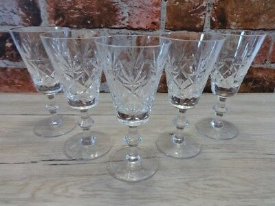 5 Vintage Lead Cut Crystal Wine Glasses 16cm high