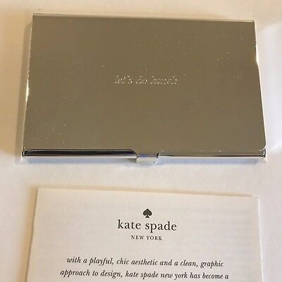 "Kate Spade New York Silver Street Business Card Holder ""Let Do Lunch""Silverplate"