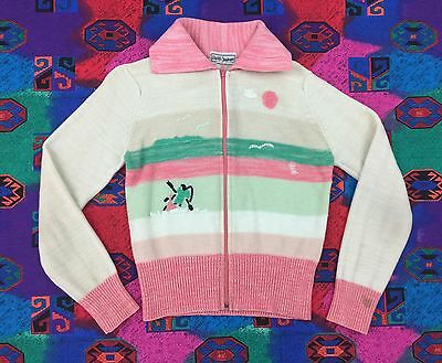 ANDY's JUNIORS - Vtg 60s Girls Zip-up Pastel Pink & White Acrylic Sweater, L-XL