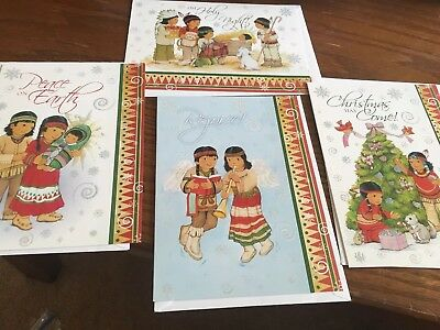 Lot of 4 Native American Glittery Christmas Cards with envelopes. Children !