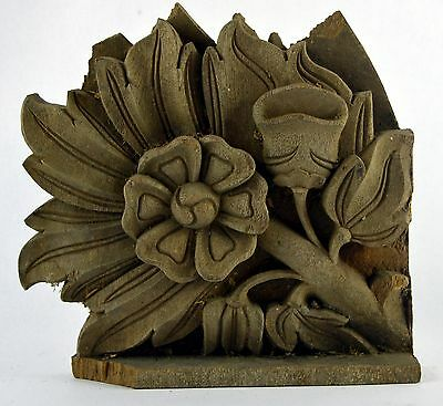 Antique Asian India Temple Relief Ornate Folk Art Floral Design Plaque Decor