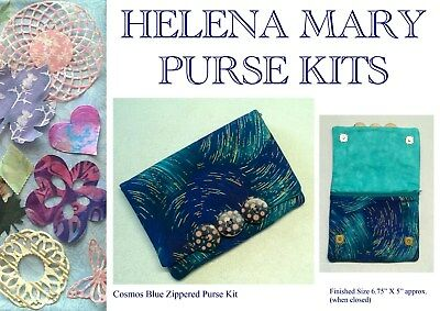 Helena Mary Purse Making Complete Kit - Cosmos Blue Zippered Purse