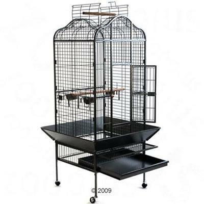 Large Parrot Cockatoo Bird Metal Black Roomy Cage Mobile House Open Roof Perch