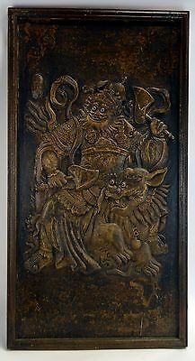 """Antique 33"""" Chinese Relief Ornate Hand Carved Camphor Wood Warrior Rides Foo Dog"""