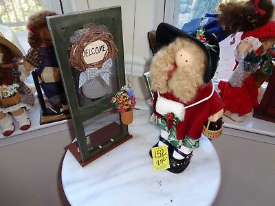 Longaberger Lizzie High Doll Holiday Xmas Joy With Doorway Holly-Rare
