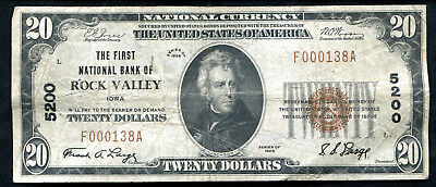 1929 $20 The 1St National Bank Of Rock Valley, Ia National Currency Ch. #5200