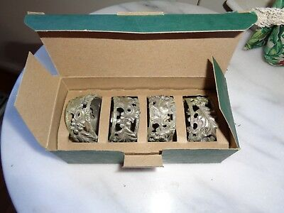 Longaberger Holly Pewter Napkin Ring Set Of 4 New In Box