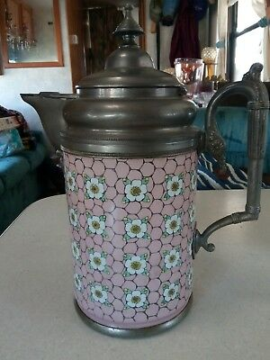 Antique Early English Enamel Silver Plate on Copper Coffee Pot