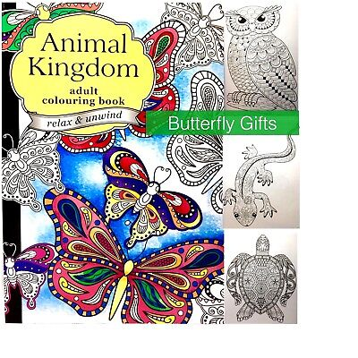 Adult Anti Stress Animal Kingdom A4 Colouring Book 60 Pages Relax & Unwind New