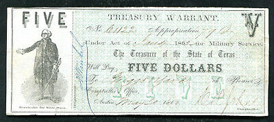 1862 $5 Five Dollars Treasury Warrant Austin, Tx Obsolete Note