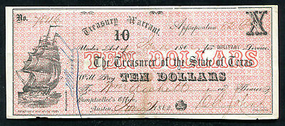 1862 $10 Ten Dollars Treasury Warrant Austin, Tx Obsolete Note
