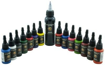 Dragon Hawk 14x15ml + 60ml Tribal Black Profi Tattoofarben Set Tattoo Farben