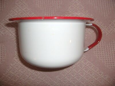 "Red And White Enamelware Bathroom Potty 8""x4 1/2"" Gag Christmas Gift Flower Pot"