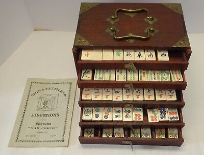 Antique Mahjong Game Set Wood Case 1920's Tiles made of Bone Bamboo directions