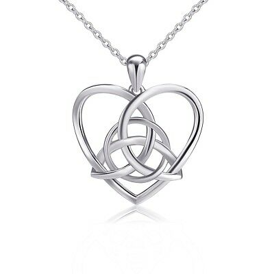 925 Sterling Silver Good Luck Irish Celtic Knot Triangle Vintage Love Heart Pend