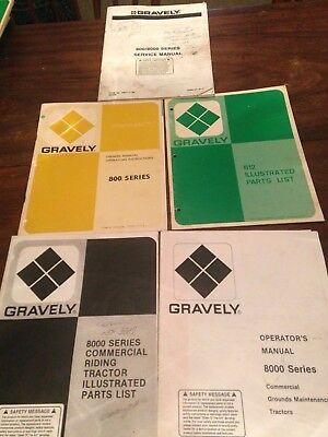 Gravely 800 8000 Series Operators Manuals Service Manual and Parts Lists