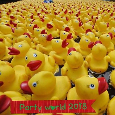 10 Mini Yellow Bath time Rubber Ducks Bath Toy Squeaky Water Play Kids party
