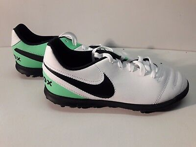 Size UK 3 Nike Tempo Rio Astro Turf Football Boots Trainers White/Green