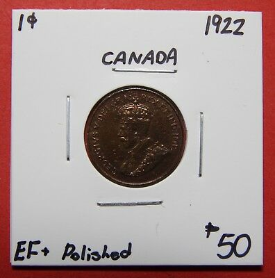 1922 Canada One Cent Penny Coin K05 - $50 EF+ Polished - Key Date!