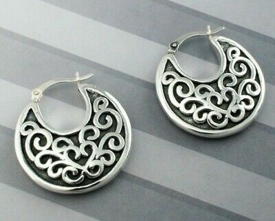 925 Sterling Silver Oxidised Antique Style Patterned Creole Earrings