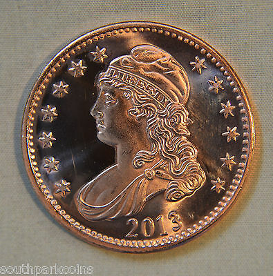 2013 CAPPED BUST 1oz .999 FINE COPPER ROUND