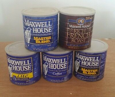 5 Vintage Metal 2 Lb Coffee Cans Maxwell House Crafts Storage Garage Containers