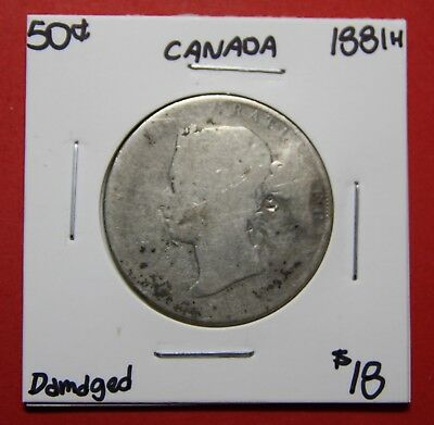 1881 H Canada 50 Cent Silver Coin Fifty Half Dollar K50 - $18 Damaged