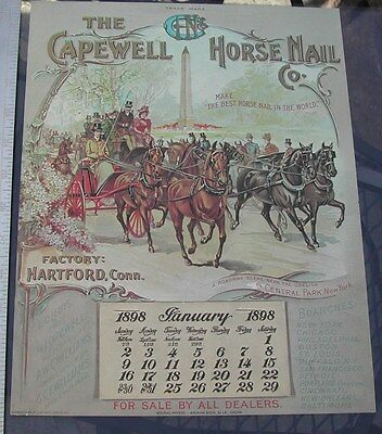 Obelisk In Central Park, New York 1898 Capewell Horse Nail Calendar Print