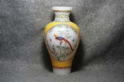 China's old Beijing glass vase of hand painted animals & plants Qianlong M14