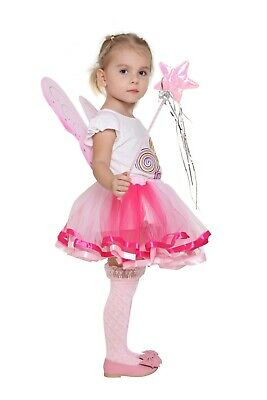 Girls Pixie Butterfly Fairy Wing with Tutu Skirt Halloween Costume Dress Up