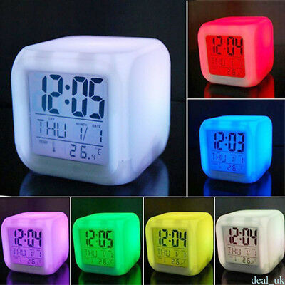 Stress Relieve Home Bedroom Child 7 Color LED Change Digital Glowing Alarm Clock