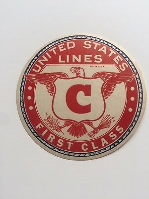 Vintage Ship Sticker / Luggage Label - The United States Lines