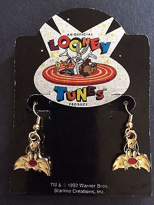 New Looney Tunes 1992 Warner Bros Sylvester Cat Face Pierced Hanging Earrings