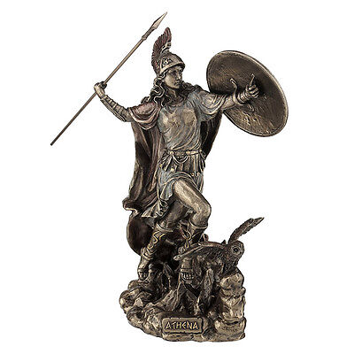 Athena Throwing Javelin with Owl of Wisdom home decor figure sculpture statue