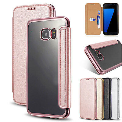 Luxury Clear TPU Back Flip Leather Wallet Case Cover for Samsung Galaxy S8 Plus