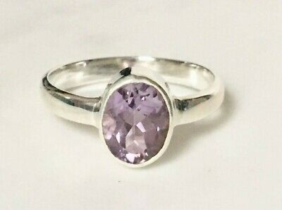 925 Sterling Silver Amethyst Ring Faceted Gemstone Oval Stack US Size 6 7.5 8 9