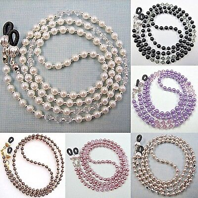 Pearl Crystal Eyeglass Glasses Sunglasses Spectacles Spec Holder Cord Chain
