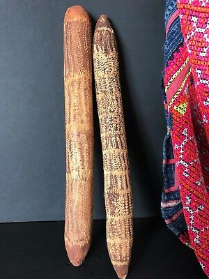 Old Australian Aboriginal Carved Wooden Clap Sticks …a beautiful collection set
