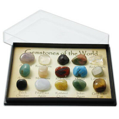 15Pcs Rock Collection Mix Gems Crystals Natural Mineral Ore Specimens Box Gift