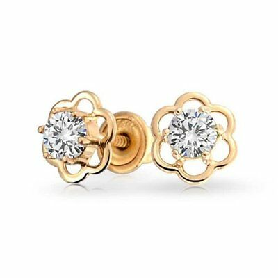 10K Solid Yellow Gold Round CZ Flower Stud Earrings With Safety Screw back