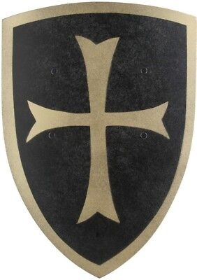 Crusader Knight Wooden Shield (Small - Black/Gold) - Kids Costume Accessory